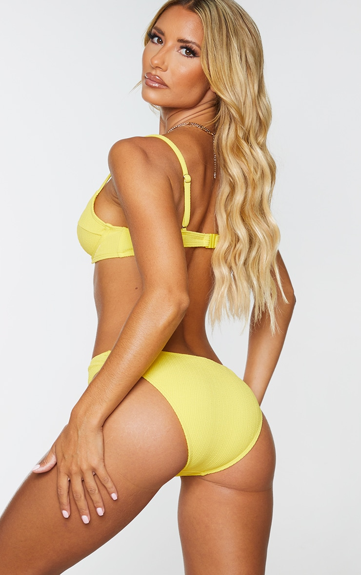 Yellow Underwired Crinkle Bikini Top 2