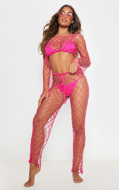 c6d519b9866 Hot Pink Crochet Beaded Pants