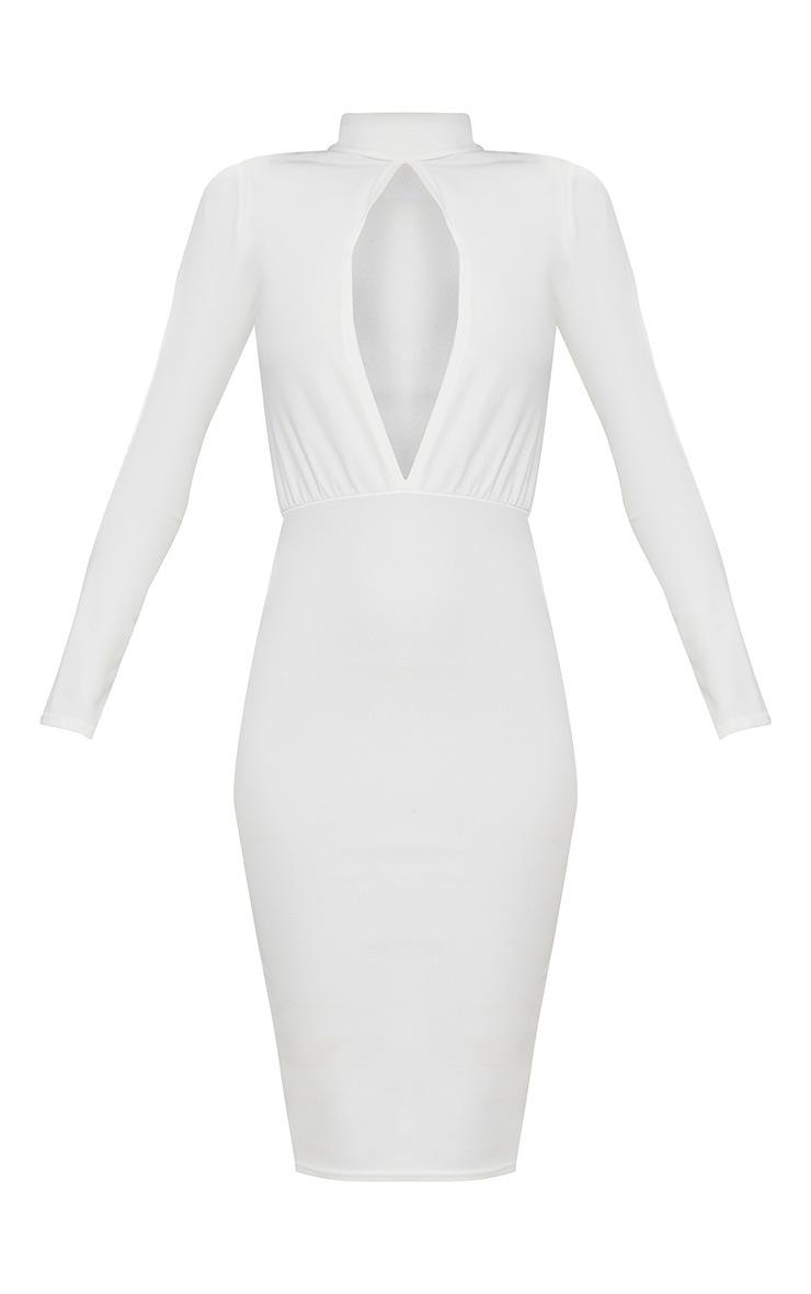 White Keyhole Cut Out Midi Dress 3