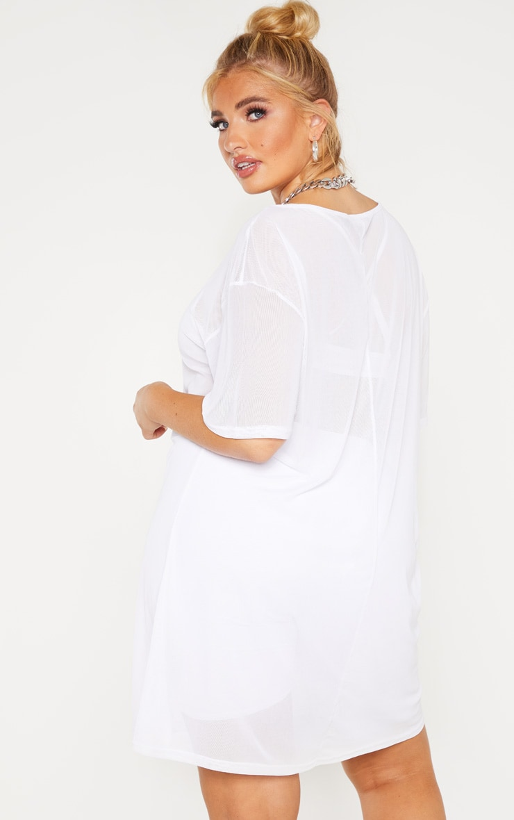 Plus White Sheer Mesh Oversized T Shirt Dress  2