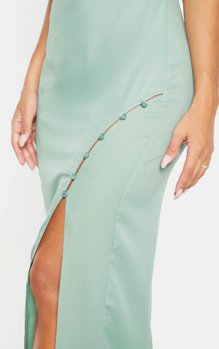 Sage Khaki Cowl Neck Button Maxi Dress  5