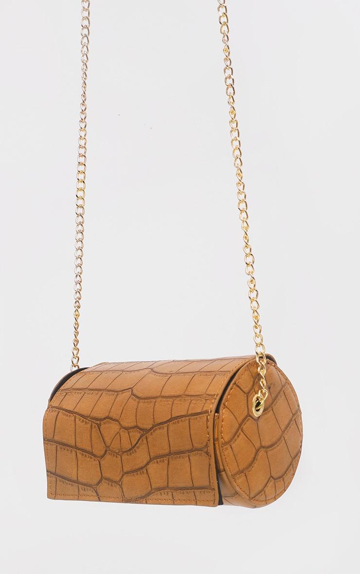 Tan Croc Barrel Shape Mini Cross Body Bag  2
