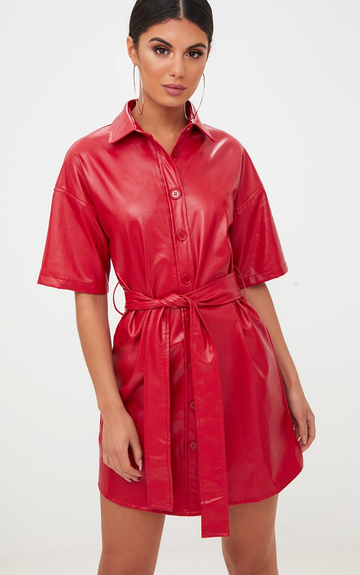 Red Button Up Tie Waist PU Shirt Dress 1