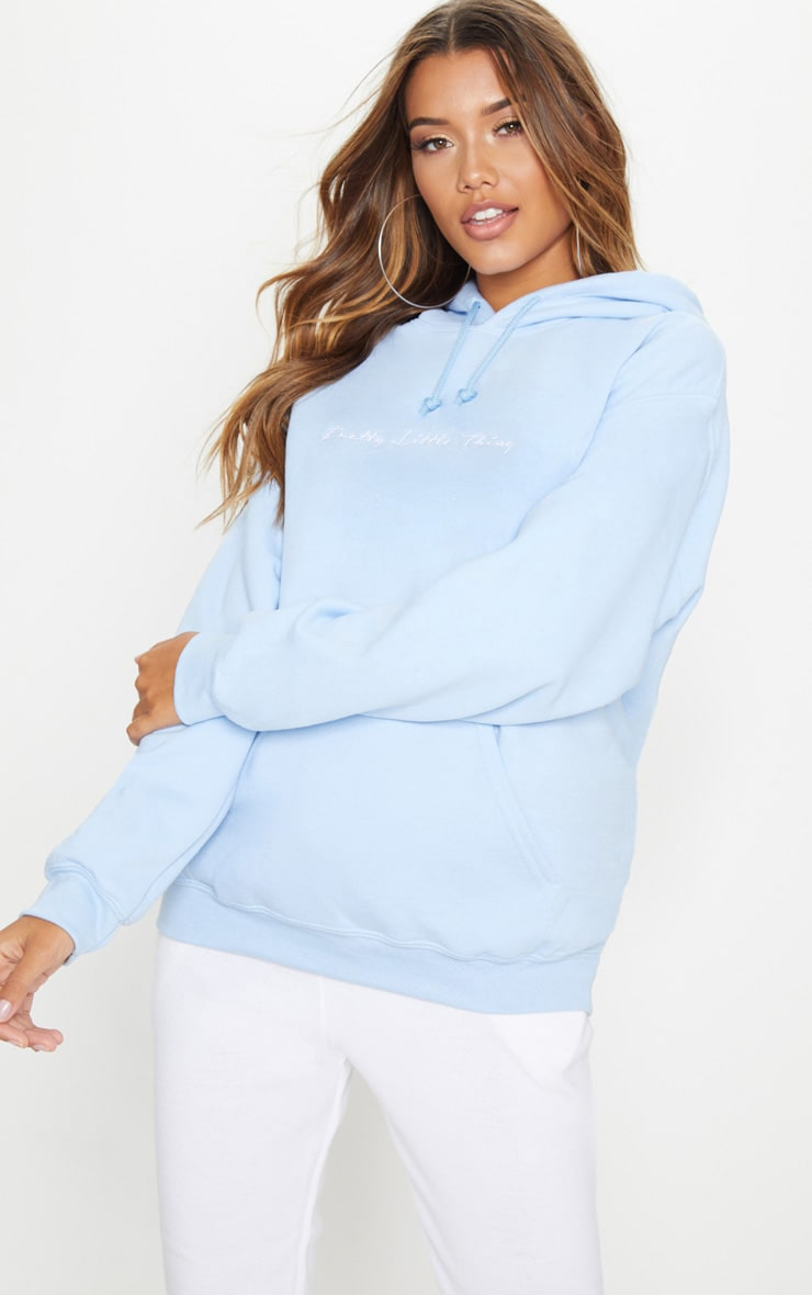Prettylittlething Light Blue Embroidered Oversized Hoodie  by Prettylittlething