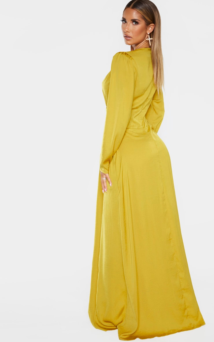 Chartreuse Puff Sleeve Extreme Plunge Waist Detail Maxi Dress 2