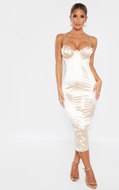 Champagne Ruched Bust Panelled Satin Midi Dress
