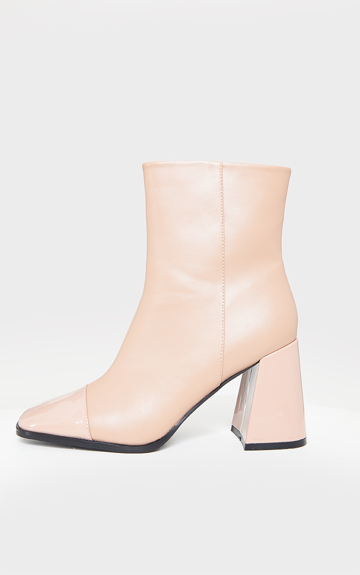 Beige Square Toe Mid Flare Block Heels Ankle Boots 4