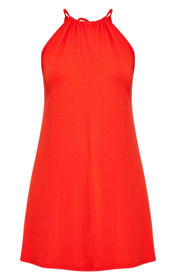 Orange Ruched Halterneck Shift Dress  3