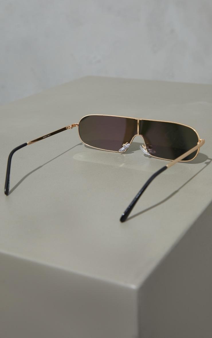 Gold Revo Lens Round Slimeline Sunglasses 3