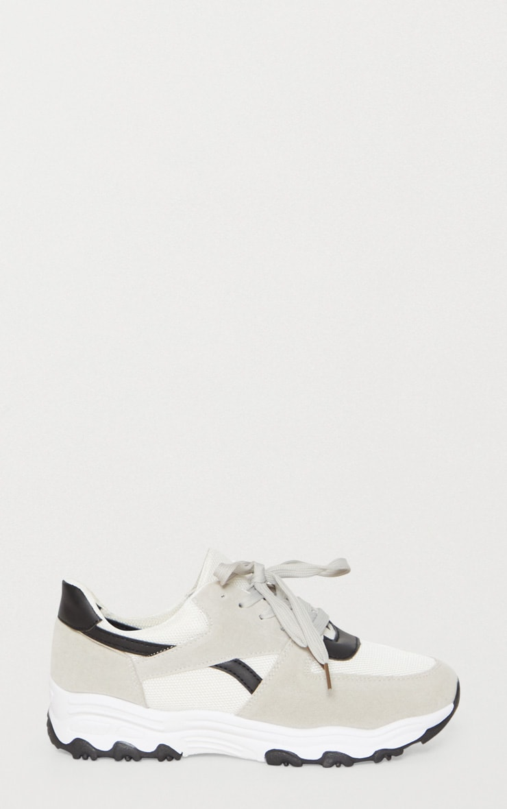 Grey Lace Up Chunky Trainer 3