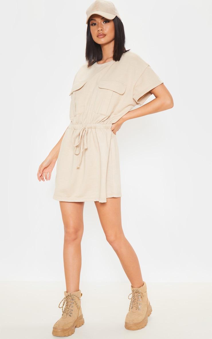 Sand Pocket Front Tie Waist Sweater Dress 1