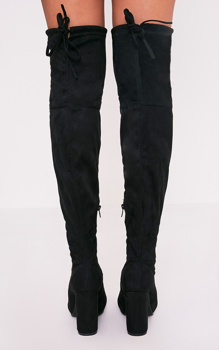 Bess Black Faux Suede Heel Thigh Boots 4
