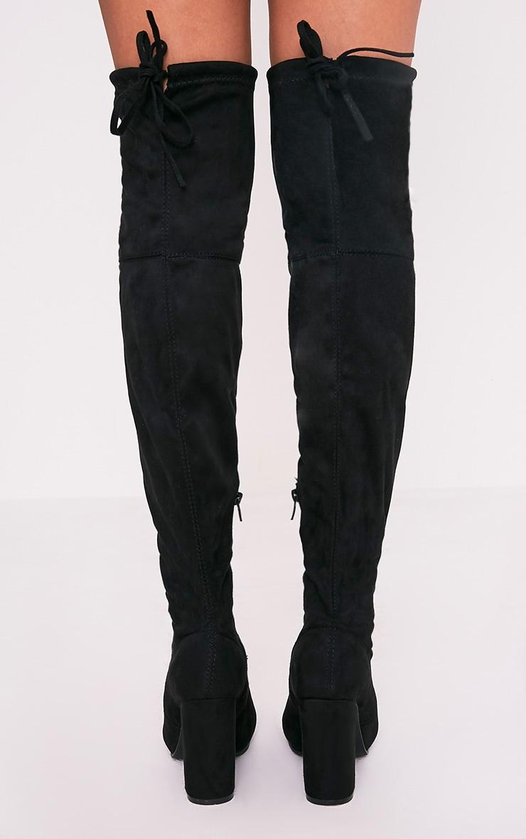 Bess bottes cuissardes noires imitation daim à talons 4