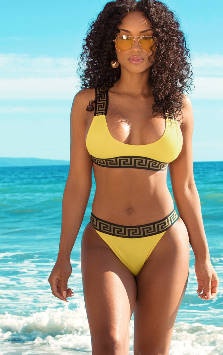 Yellow Greek Key Low Scoop Bikini Top 1