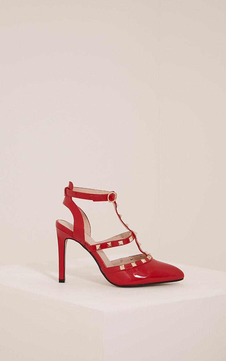 Eloisa Red Patent Pointed Studded Heels 3