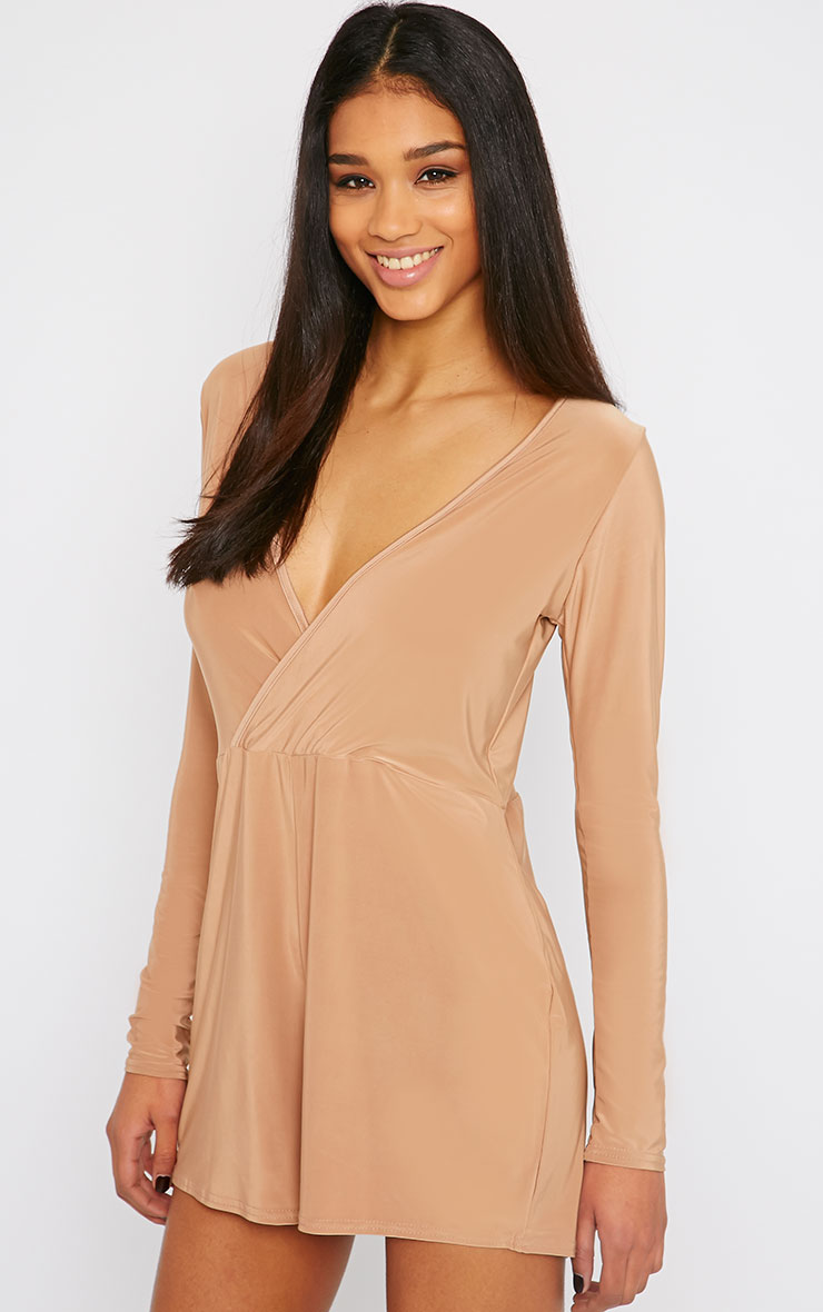 Tilly Camel Slinky Wrap Over Playsuit 1