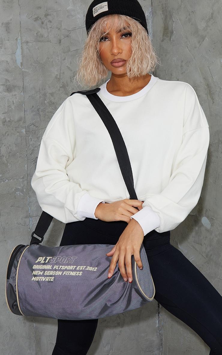 PRETTYLITTLETHING Charcoal Sports Duffle Bag 1