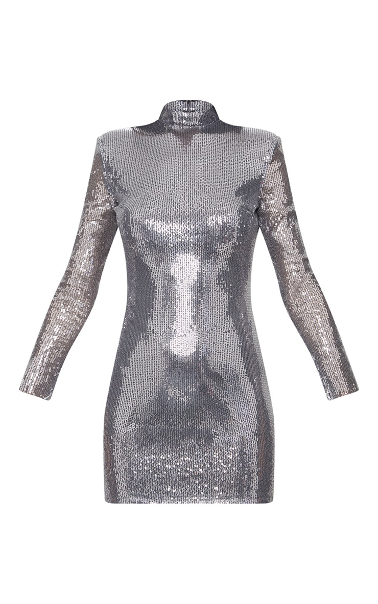 Silver Sequin Long Sleeve Shoulder Pad Bodycon Dress 3