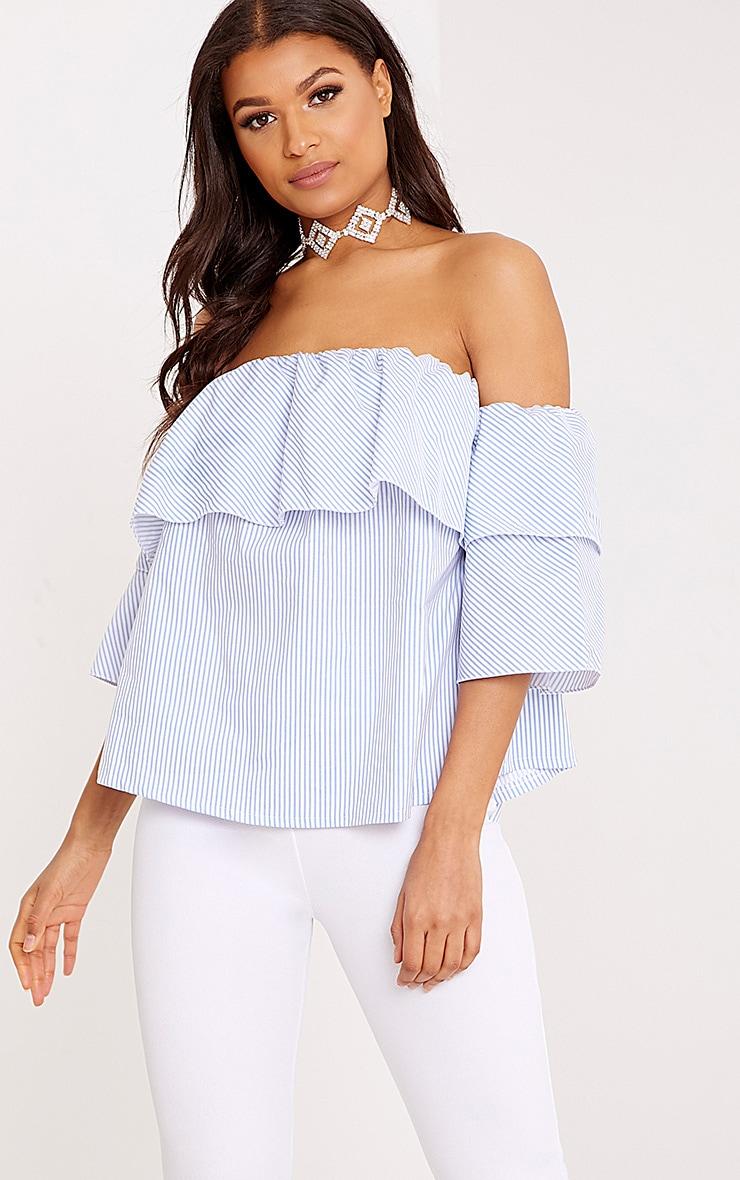 22b822b1639cfe Kaarina Blue Stripe Bardot Shirt image 1