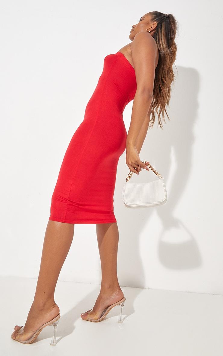 فستان ميداكسي باندو سادة باللون الأحمر 4