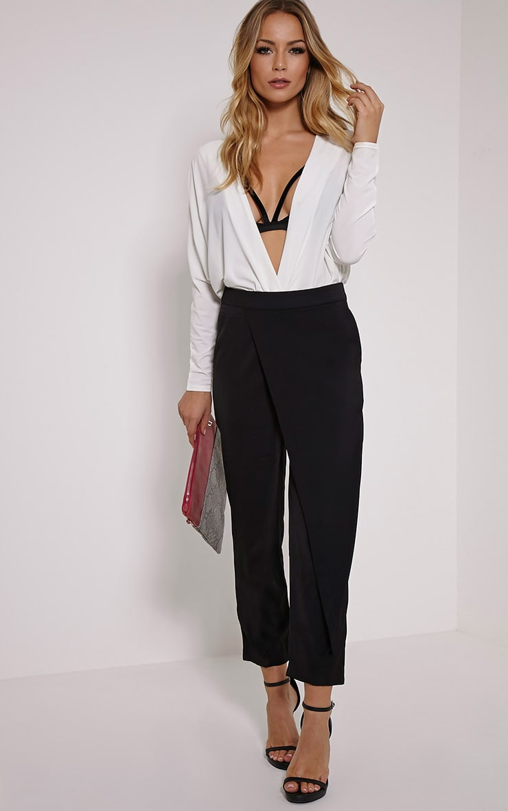Petite Rachel Black Cross Front Trousers 1