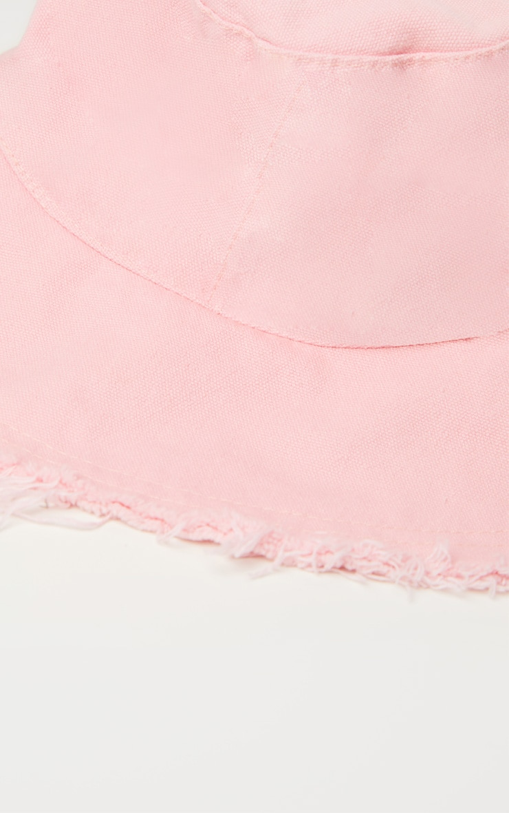 Pink Frayed Bucket Hat 3