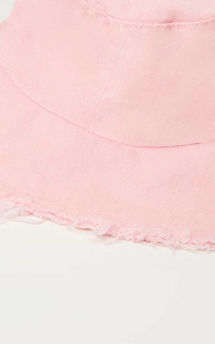 Bob en coton rose à bordure élimée 3