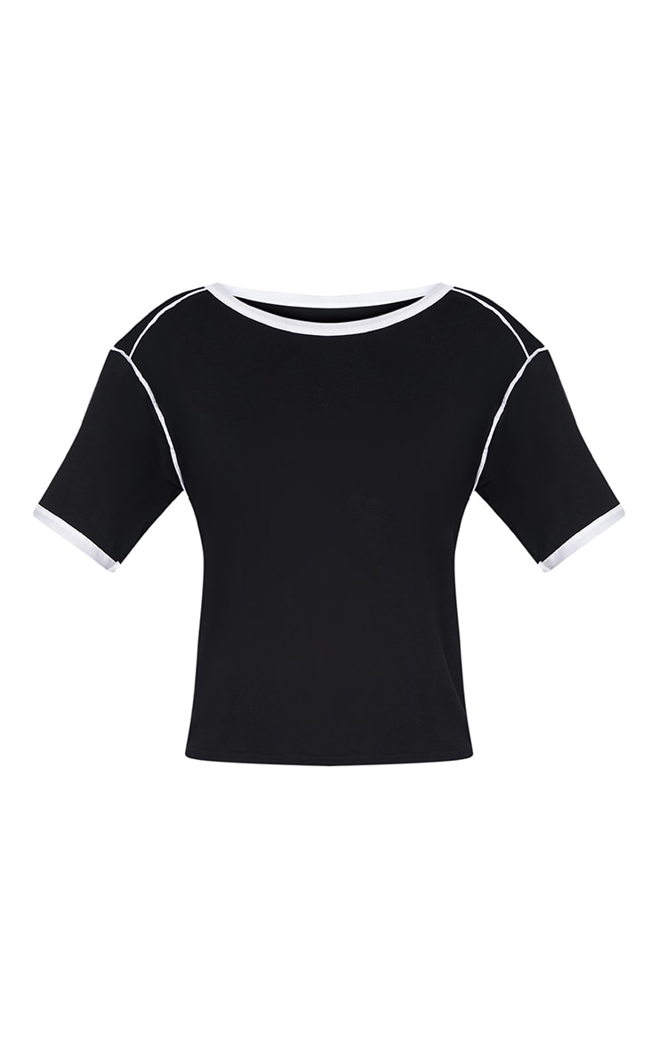 Black Contrast Piping T Shirt  3
