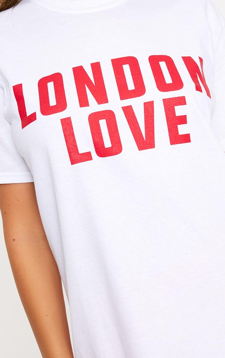 London Love Slogan White T Shirt 5