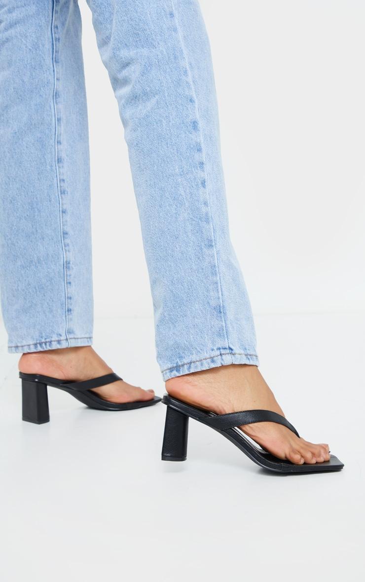 Black Toe Thong Extreme Square Toe Mid Block Heel Sandals 2