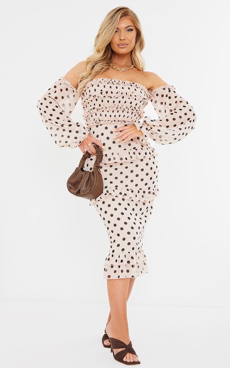 Stone Polka Dot Shirred Ruffle Bardot Midi Dress 1