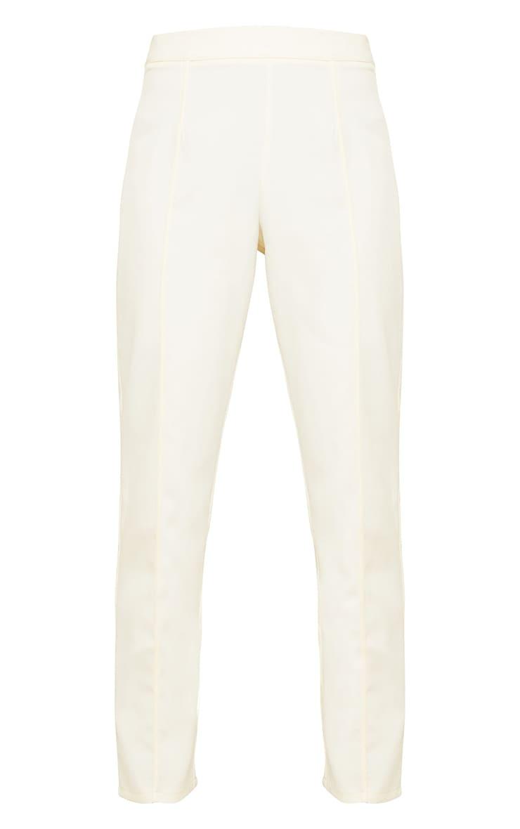 Cream Woven Seam Front Cigarette Trousers 5