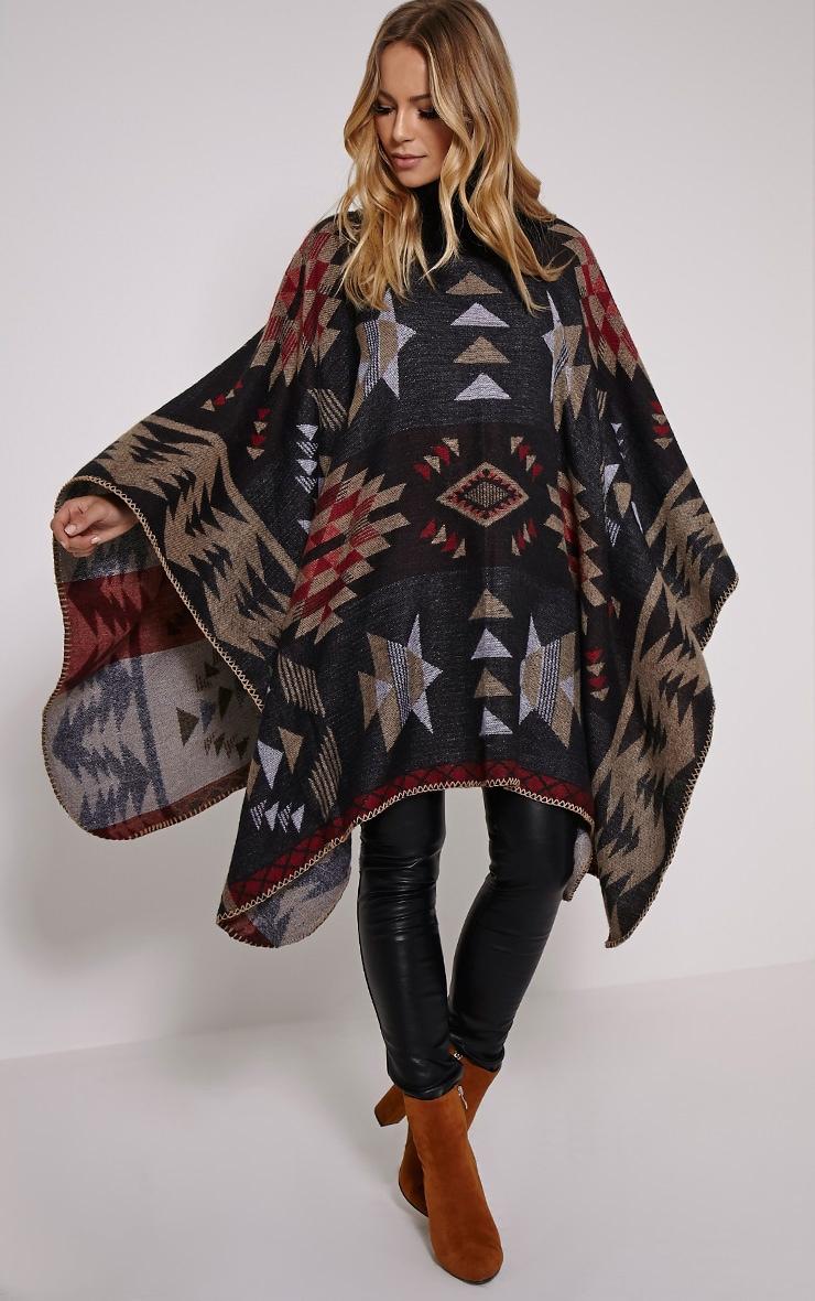 Jeska Black Knitted Neck Aztec Cape 3