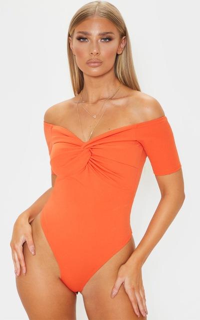 Orange Bardot Twist Front Bodysuit