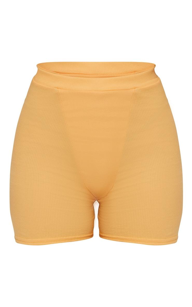 Peach Ribbed Cycle Shorts 6