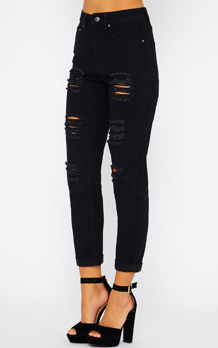Ryker Black Ripped Mom Jeans  3