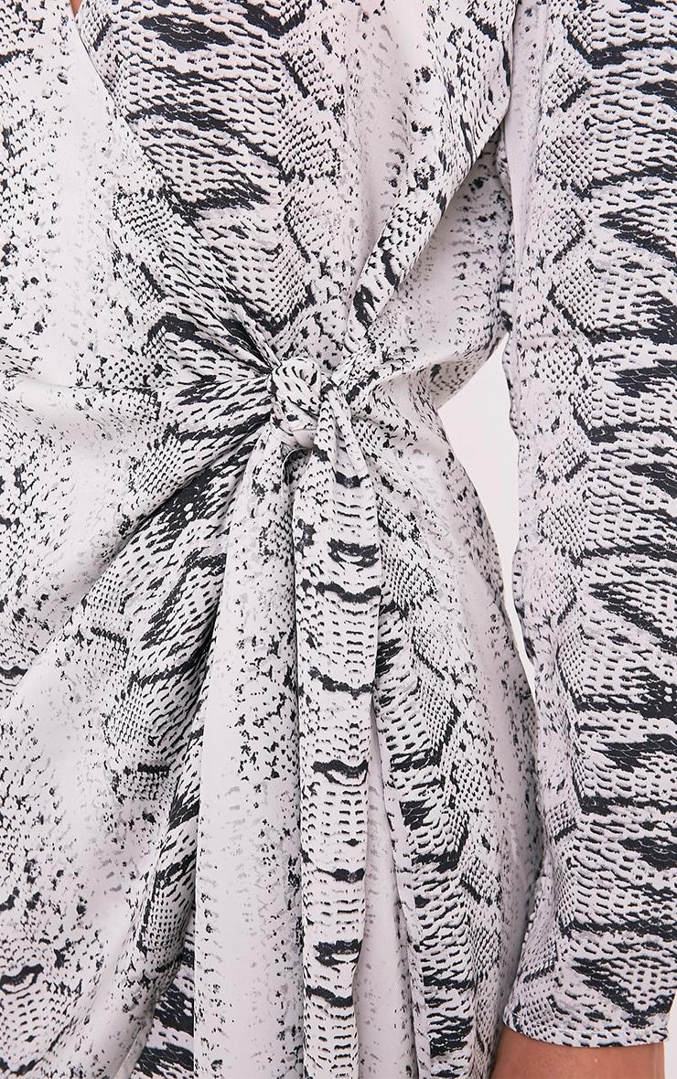 Jadia Grey Snake Print Chiffon Tie Side Shirt Dress 6