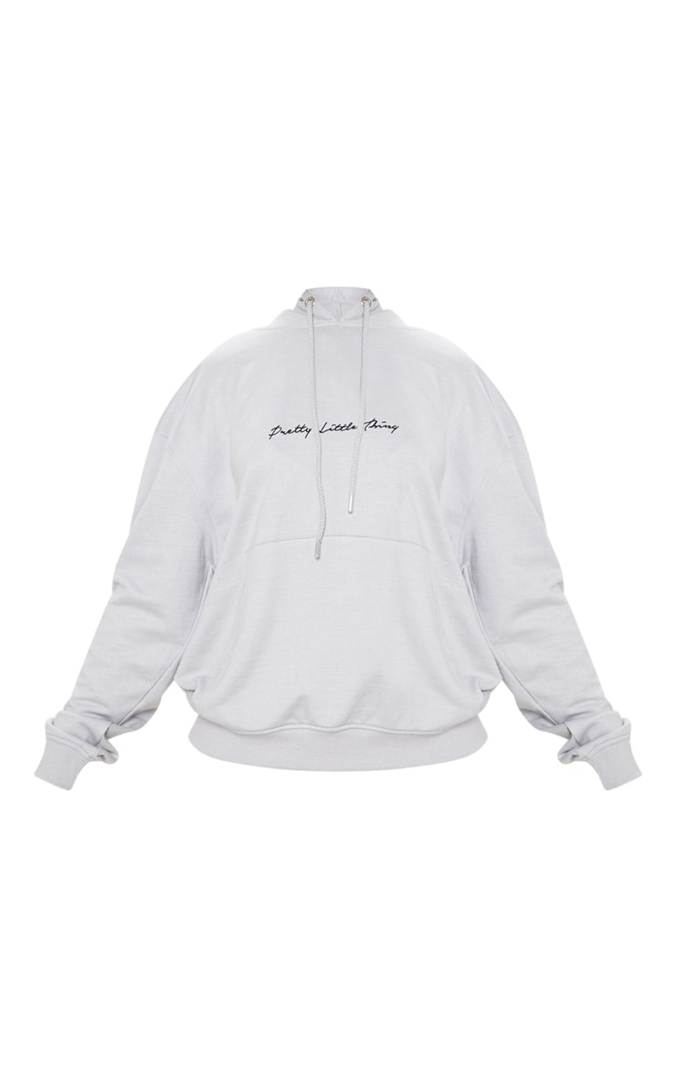 PRETTYLITTLETHING Dove Grey Embroidered Oversized Hoodie 3