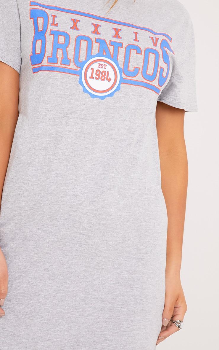 63a8955c Petite Pearl Grey Broncos Slogan T Shirt Dress | PrettyLittleThing
