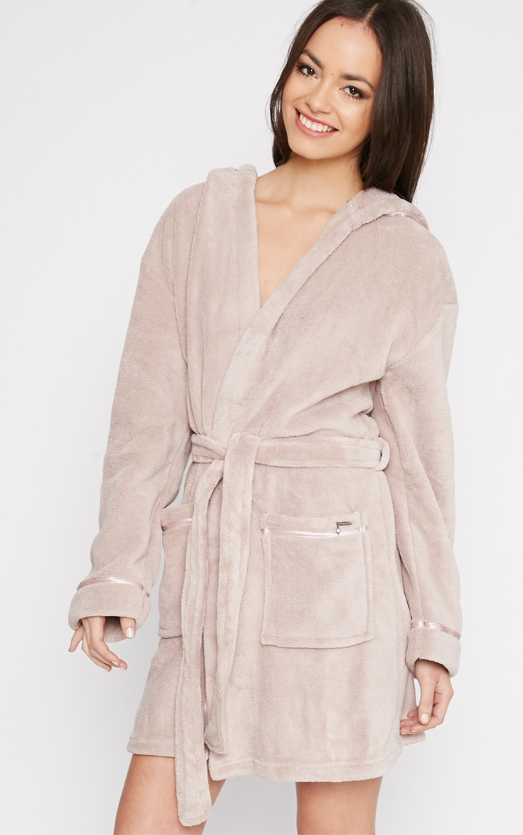 Erin Taupe Fleece Dressing Gown  4