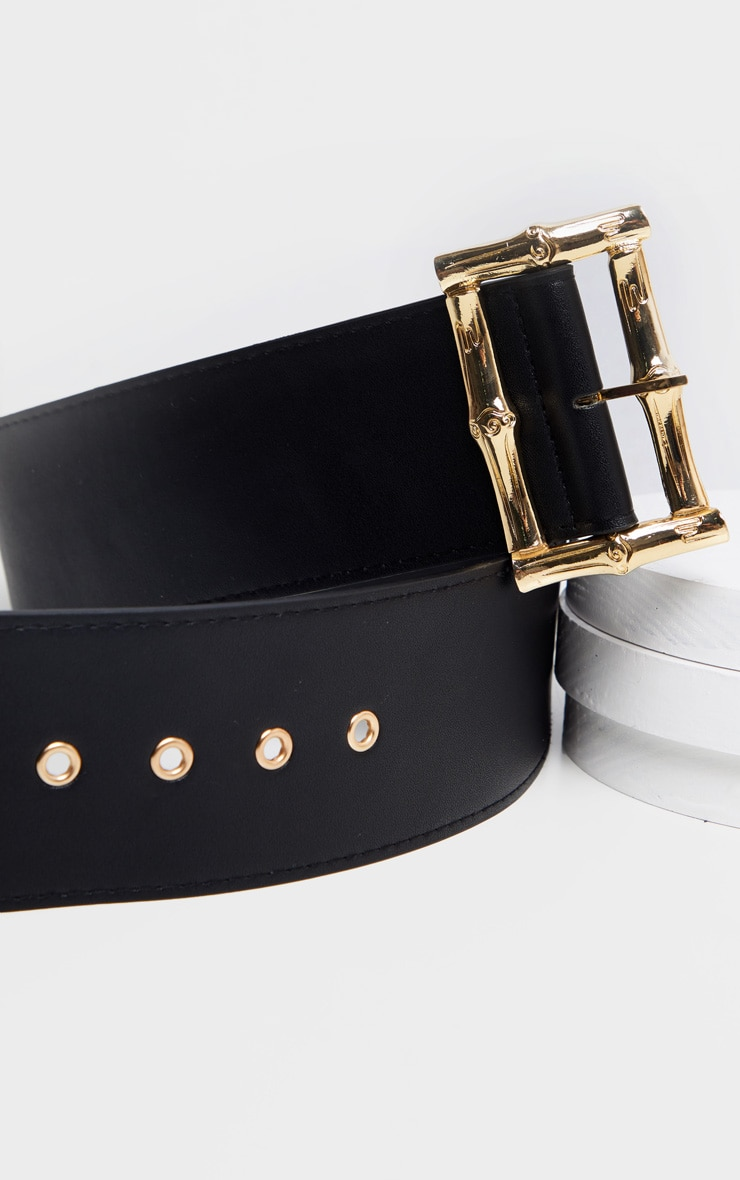 Black Bamboo Effect Buckle Wide Waist Belt 3