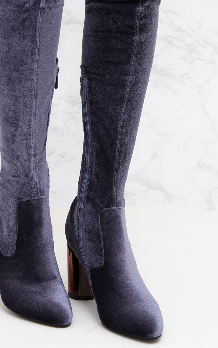 Grey Velvet Metal Heel Over The Knee Boot 5