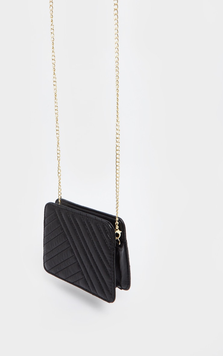 Black PU Small Chevron Cross Body Bag 3
