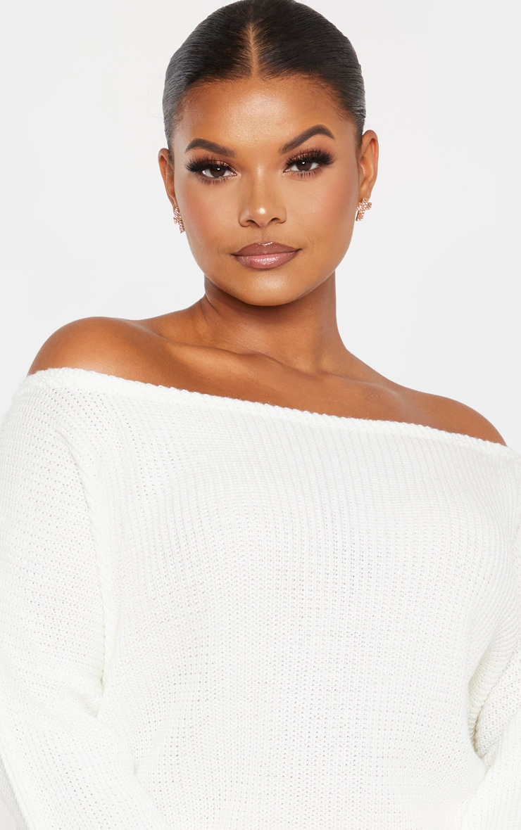 Plus Cream Off the Shoulder Crop Knitted Sweater 5