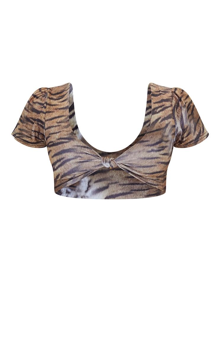 Petite Brown Faded Tiger Twist Front Cropped Bikini Top 5