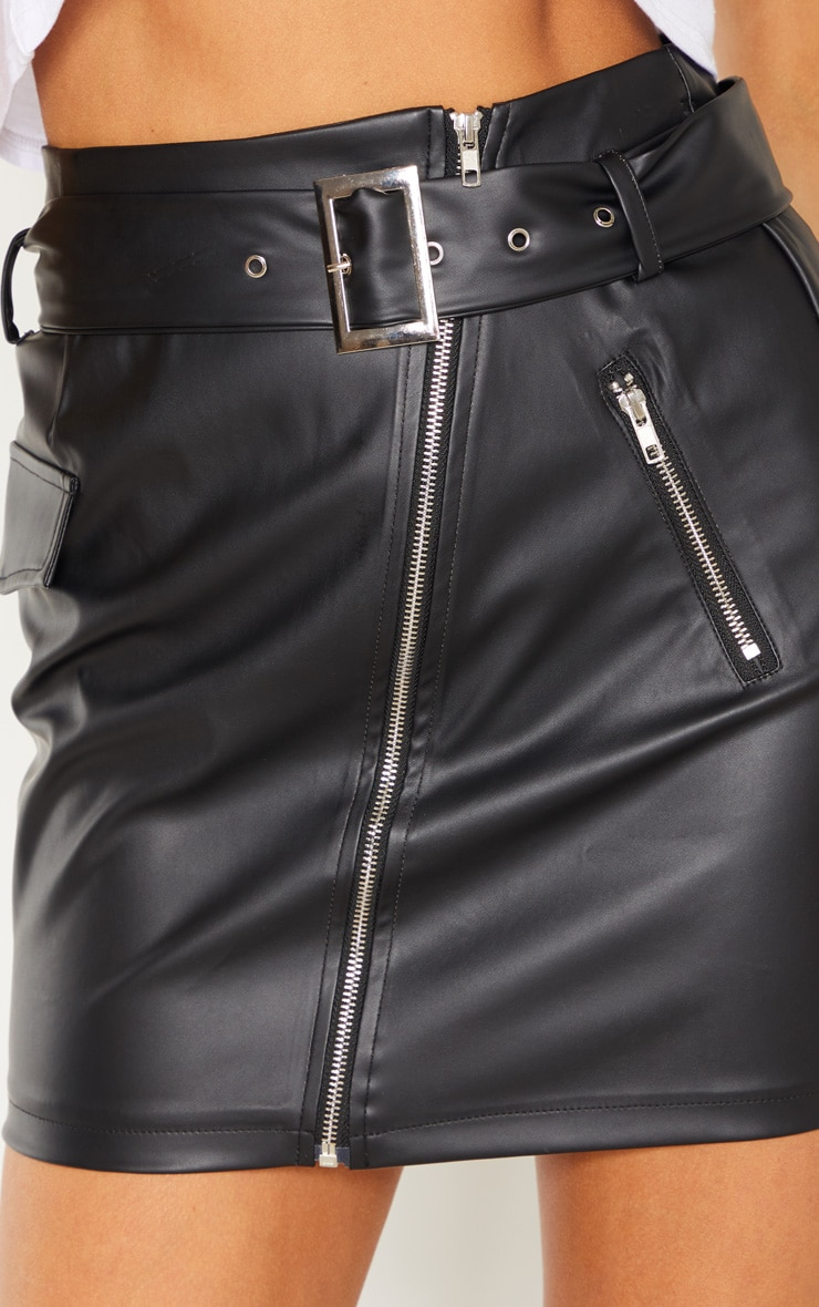 Tall Black Belt Detail PU Mini Skirt 6