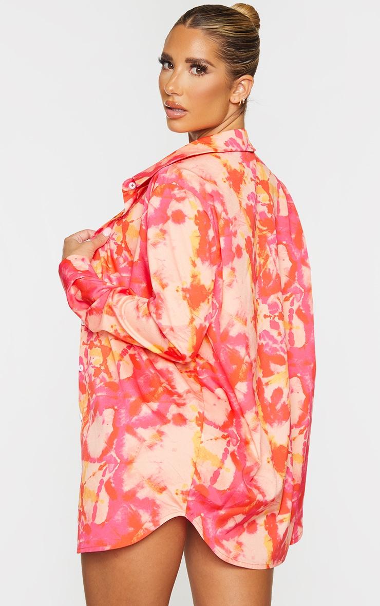Pink Tie Dye Oversized Beach Shirt 2