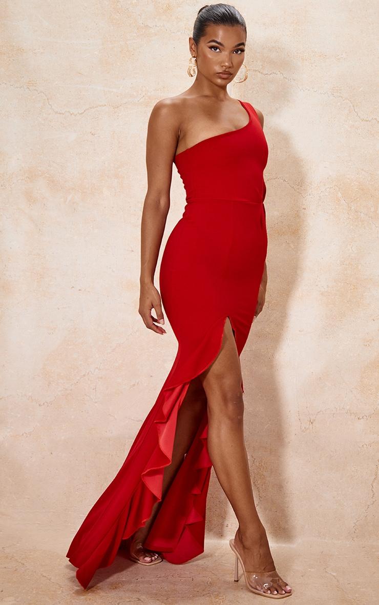 Red One Shoulder Ruffle Hem Maxi Dress 3