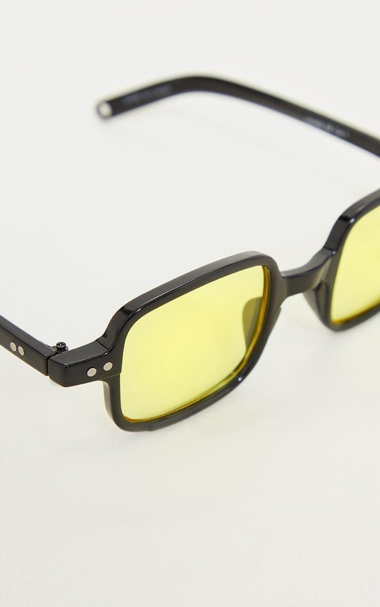 Black Mini Square Yellow Lens Sunglasses 3
