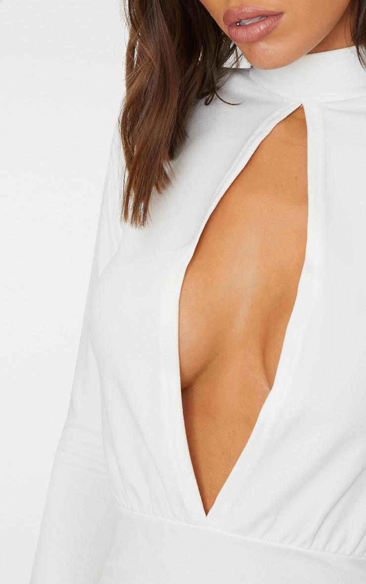 White Keyhole Cut Out Midi Dress 5